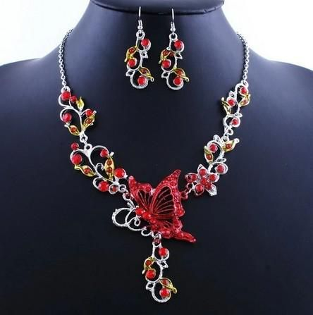 Bridal african vintage crystal flower butterfly pendant necklace earrings wedding fashion