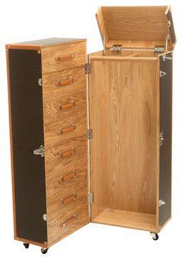 Rolando Rolling Wardrobe Trunk, Black & Grey - traditional - Decorative Trunks - Great Deal Furniture