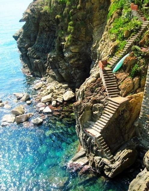 Stairs leading to crystal clear sea