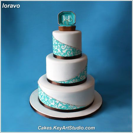brown and teal wedding cake ideas | Turquoise and Chocolate Brown Wedding Cake - a photo on Flickriver