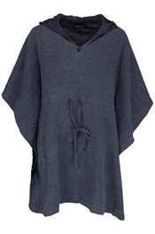 Bohéme smart oversize tunika med hætte i blå crepe