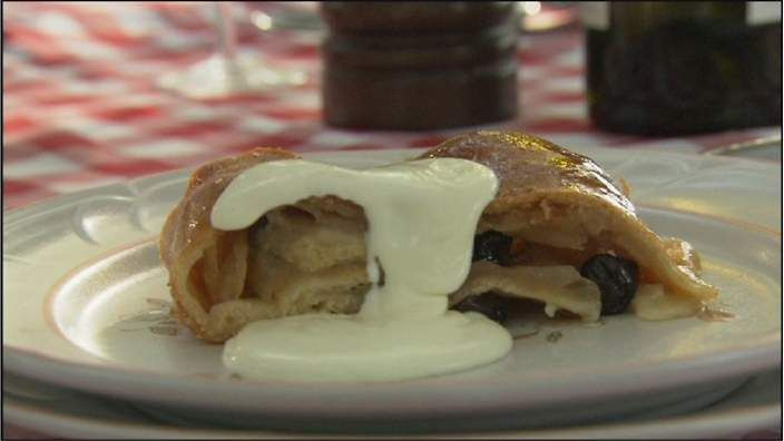 Italian Nonna's apple strudel _ Rosetta Pizzini is from Alto Adige in the Italian mountains near the Austrian border, and it shows in this recipe. Strudel is not seen as typically Italian, but Rosetta's sure hands as she made this was one of the most memorable images of the Italian Food Safari series. The strudel is simply perfect, especially if you can source good homemade apricot jam.