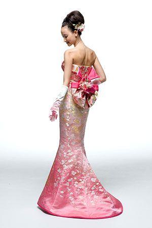 着物ドレス-No,207 ピンク桜柄マーメイド