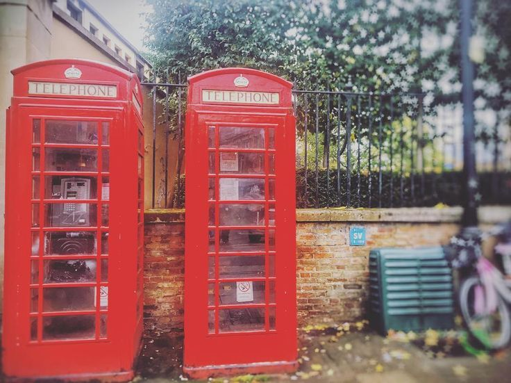 Signature red telephone boxes in the UK
