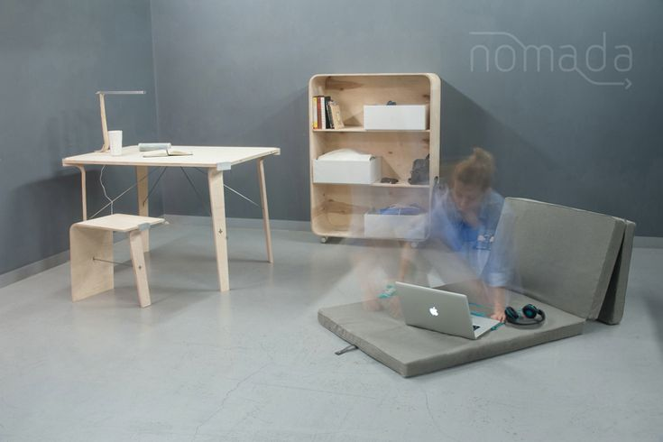 Nomad – essential living minimum, Nina Woroniecka /  The module set designed for modern nomads is made up of rudimentary pieces of furniture – light and easy to put together. After installing, it makes up a mobile, integrated whole. The set comprises: a mattress, a table, two stools, a small lamp, a bookstand, and some boxes for personal belongings. All the elements fit together in a chest, which together with shelves forms a bookstand, and the chest's lid doubles as a tabletop.