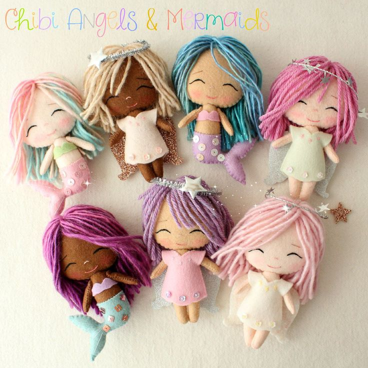 Chibi Mermaid and Angel pdf Patterns by Gingermelon on Etsy