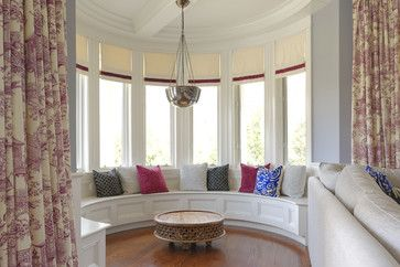Large Roman Blinds With Curtains Family Room Design Ideas, Pictures, Remodel & Decor
