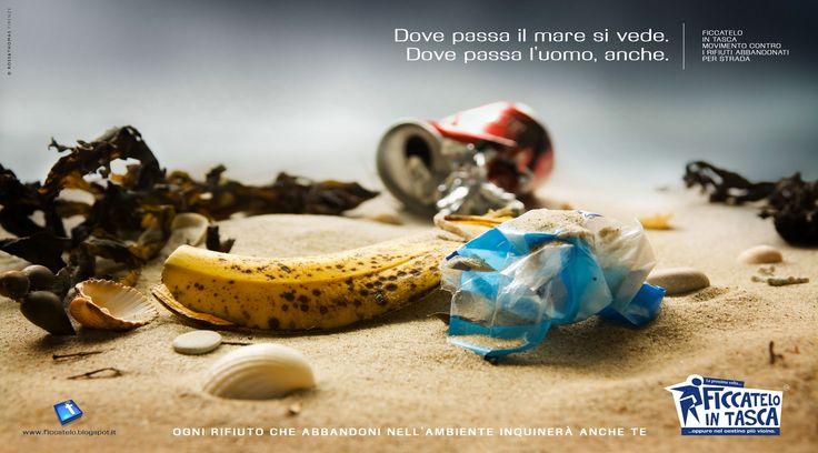 I rifiuti umani abbandonati sulla spiaggia inquinano anche te.
