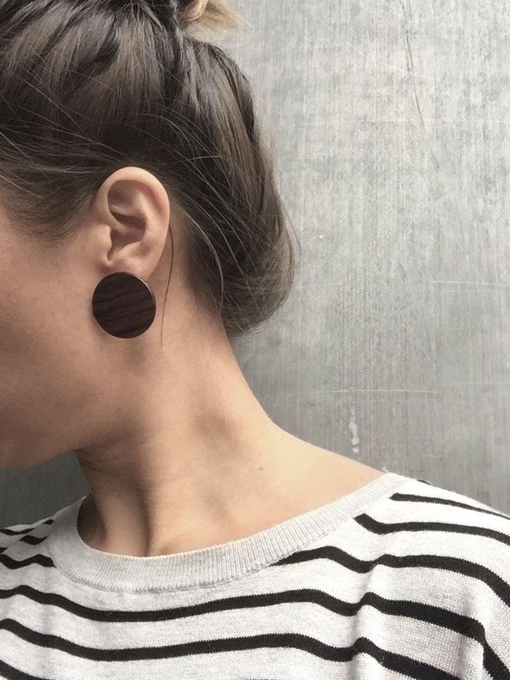 Large wood stud disc earrings.  Reclaimed rosewood   XL Disc Stud Earrings - Billy Would