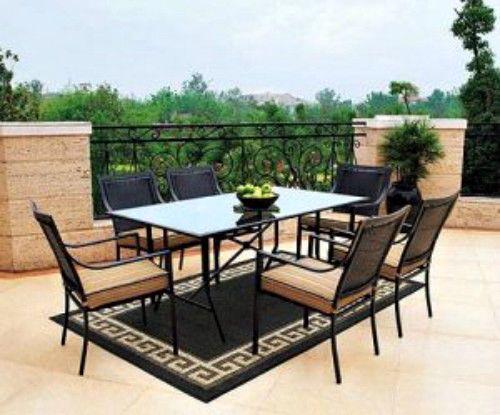 7Piece Outdoor Dining Set Grey Metal Frame Wicker Glass Tabletop Chairs Cushion #MainstaysSmartDealsMarket