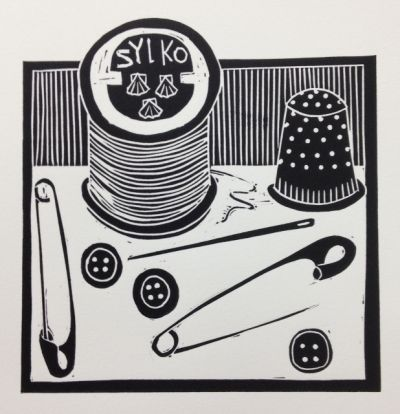 'Pins and Needles' by jan brewerton Lino print on Somerset Satin paper. Edition of 50