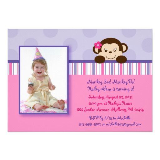 19 best monkey birthday invitations for girls images on pinterest mod girl monkey photo birthday invitations filmwisefo
