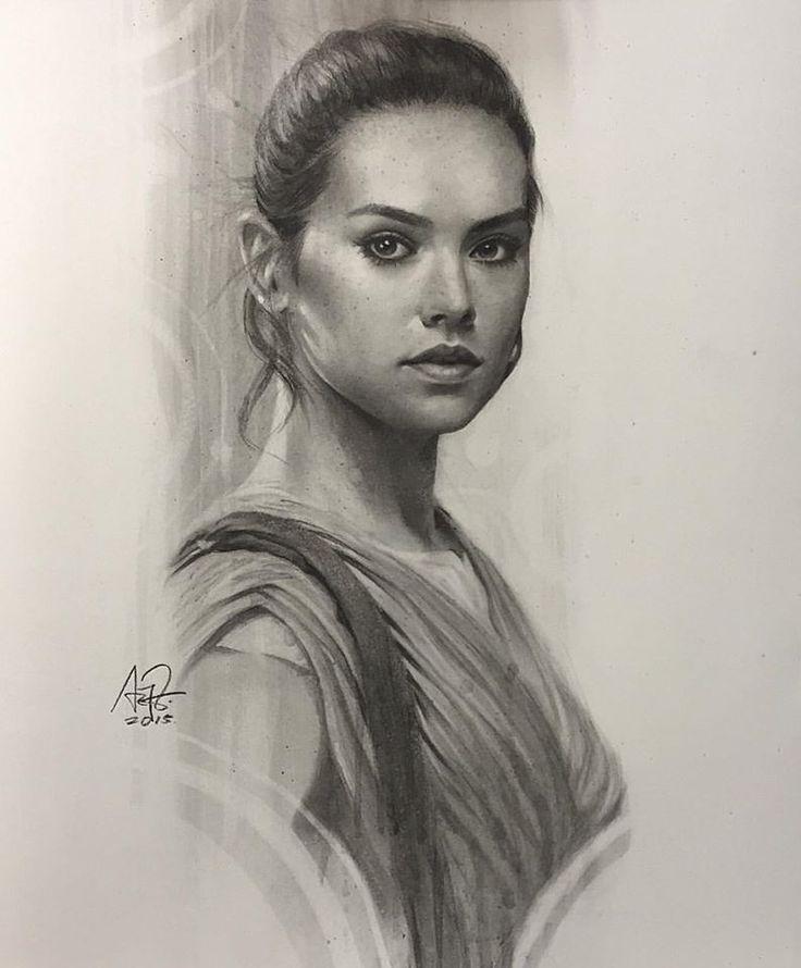 Dessin Rey Star Wars Le Réveil De La Force par Artgerm au fusain Daisy  Ridley.