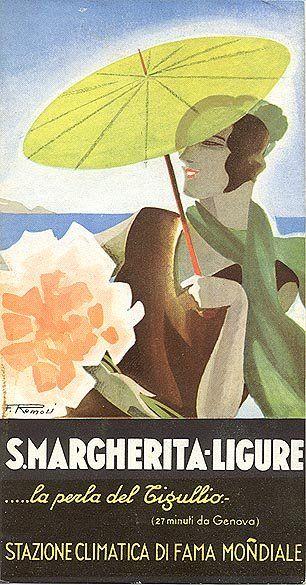 Santa Margherita Ligure (Riviera di Genova, Liguria) - Vintage travel beach poster , art deco (liberty) #riviera #www.essenzadiriviera.com Discover the new olive oil cosmetics from italian riviera!