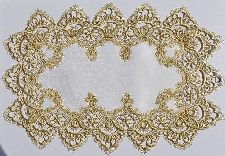 MMM Ivory / Gold Lace Embroidered Victorian Placemat  **FREE SHIPPING** NEW   #MMMInternational