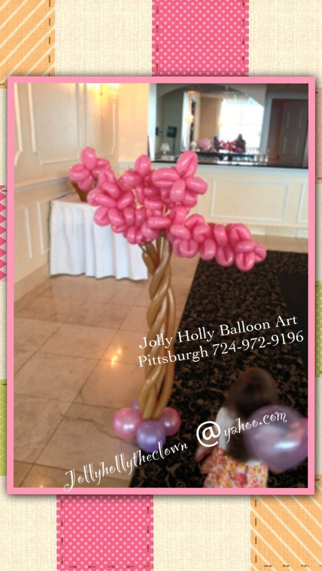Balloon tree sculpture by Jolly Holly balloon art based in the Pittsburgh area. #balloon #tree #decor #sculpture #centerpiece #column #sculpture #decoration #baby shower
