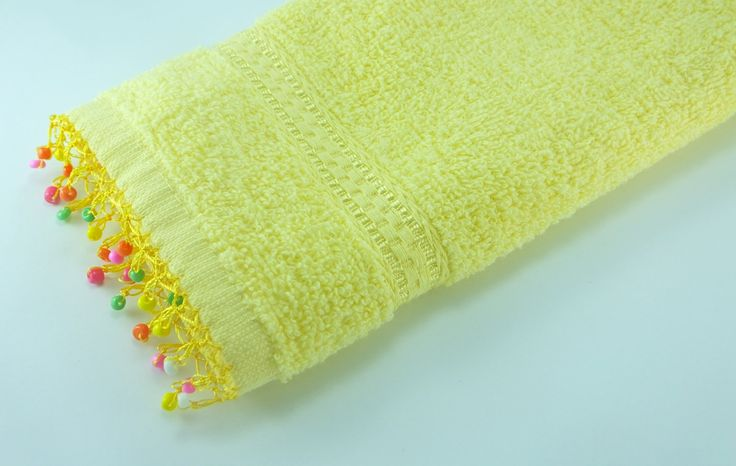 Yellow Hand Towel  Needle lace with Processing  Mix glasd Beads  Bathroom Hand Towel  Cotton Towel  Kitchen towel Tea Towel mothers d (10.00 USD) by fyonk