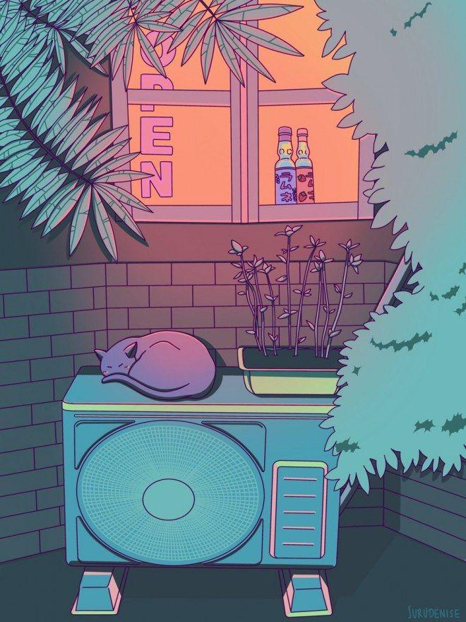 Cette artiste s'inspire des animes pour réaliser de superbes paysages japonais aux couleurs ...