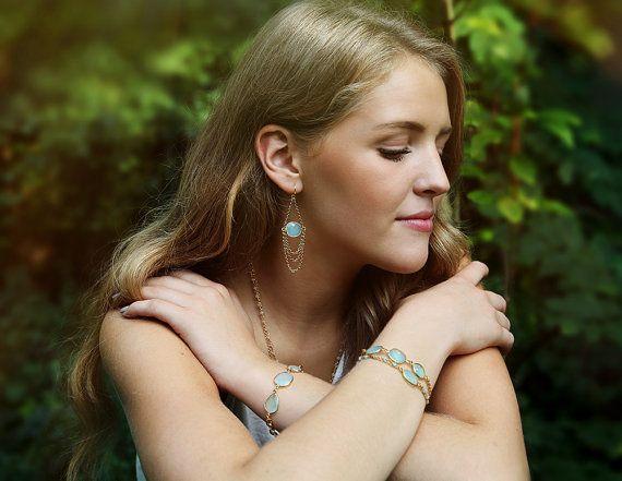 Aqua blue chalcedony triple stone bracelet by Rosehip Jewelry