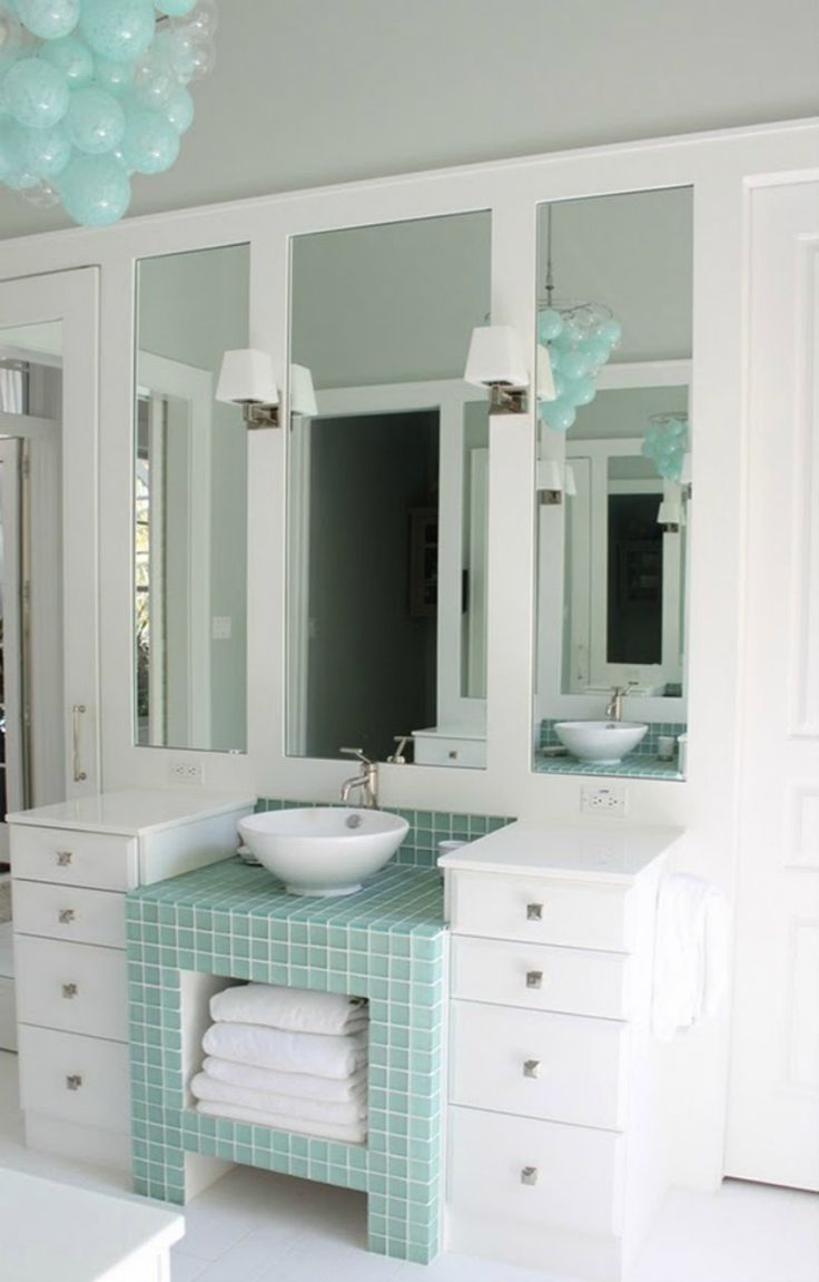 House Of Turquoise: Molly Frey Design Love The Glass Tile Base Between Two  Cabinets, Great Idea For A Small Bathroom