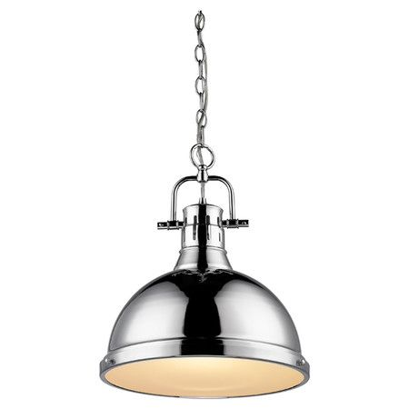 Bring chic style to your breakfast nook or kitchen island with this elegant pendant showcasing a bowl silhouette and chrome finish