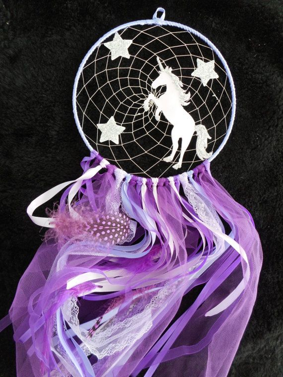 Unicorn Dream Catcher Purple Stars Catch Your Dreams