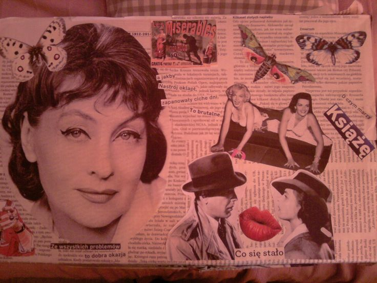 Collage on a box.