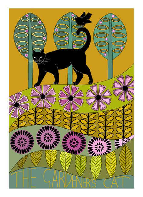 10 x 8 Art Illustration Print Black Cat In Garden by caitlihne, $12.00