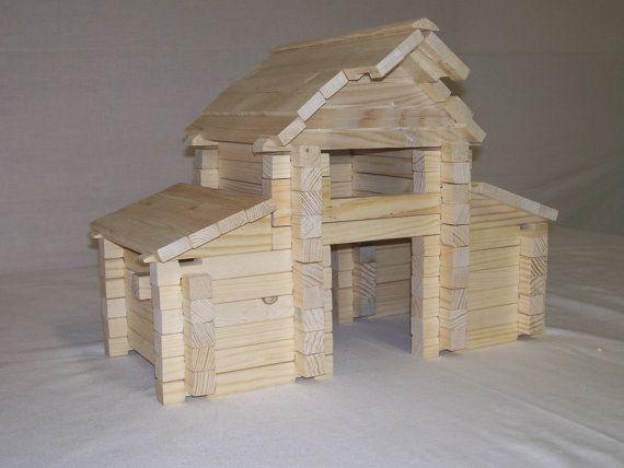 Toy Blocks,Square Log Barn Set blocks, Wood Blocks, Wood building Blocks, Kids Toy Blocks, Educational Blocks, Classic Style Log Blocks,