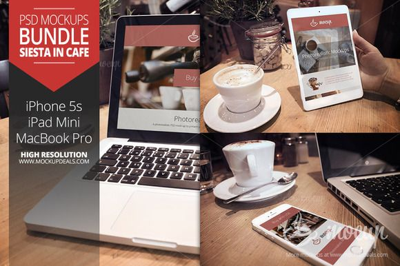 Check out 3 PSD Mockups Siesta in cafe by Mocup, mockupdeals.com on Creative Market