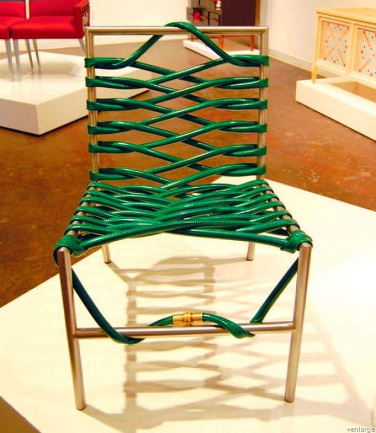 Garden Hose Chair - great way to repurpose a worn out chair & hose