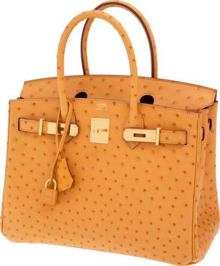 Hermes 30cm Saffron Ostrich Birkin Bag with Gold Hardware | Exotic ...