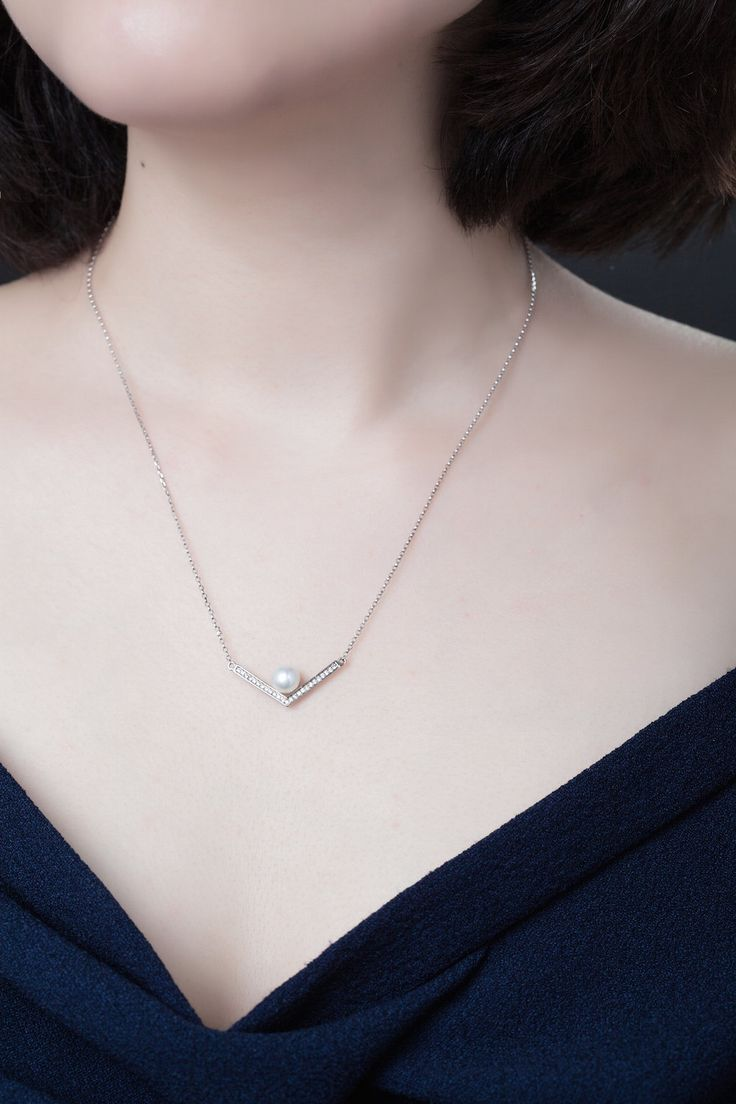 Pearl Silver Necklace  Cradled Pearl  Simple And Elegant  Sterling  Silver  Gift For Her
