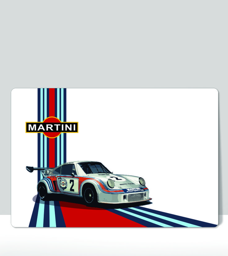 Martini Porsche 911 Car number 2 Vintage Racing Horizontal Sign. Art Print on…