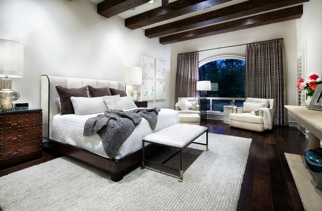 White and gray bedroom http://www.houzz.com/photos/1553090/Woodlands-contemporary-bedroom-houston