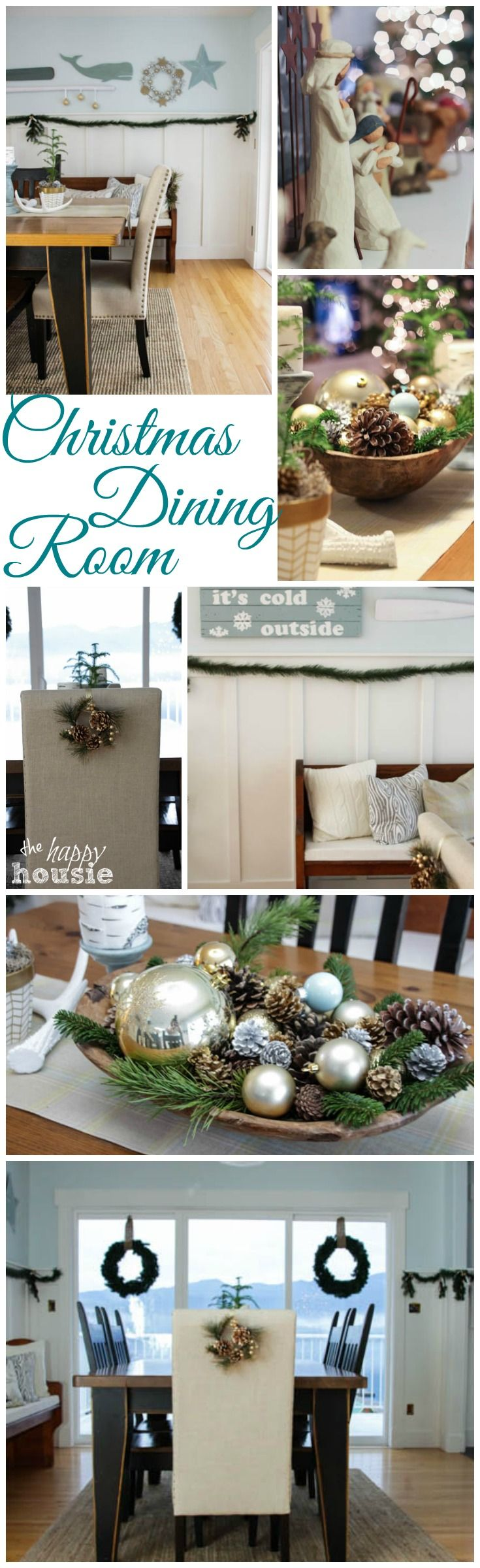 Come on over to take a tour of our Christmas Dining Room with blue and gold and lake cottage style at The Happy Housie