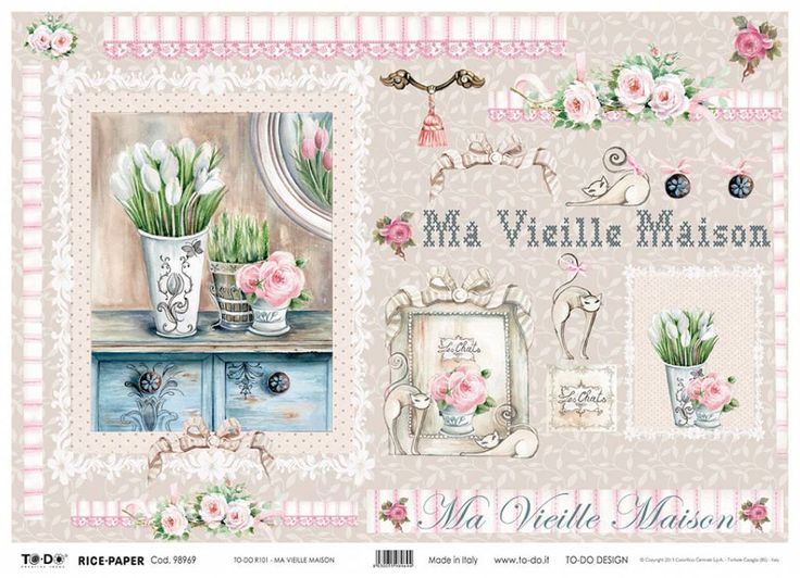 Now just in! Ma Vielle Maison Rice Paper pretty #shabbychicricepaper, #shabbychicroses, #shabbychic