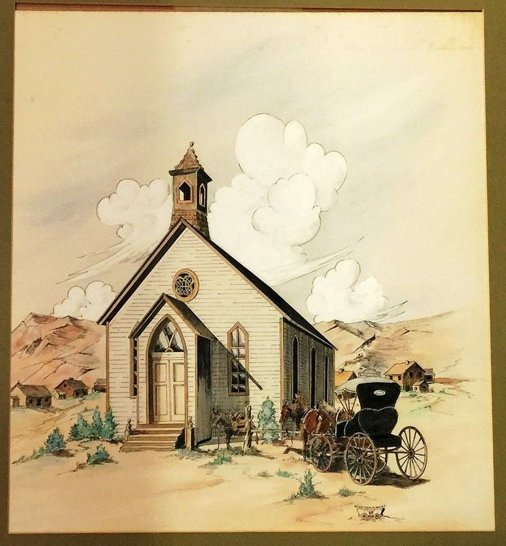 W Lee Symmonds Signed 1965 Watercolor Painting Church Bodie California Framed #Realism