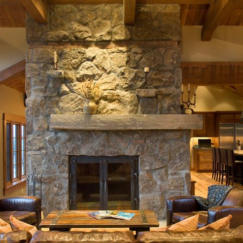 off center fireplace  Lake house fireplace ideas  Farmhouse family rooms Tuscan house Rustic