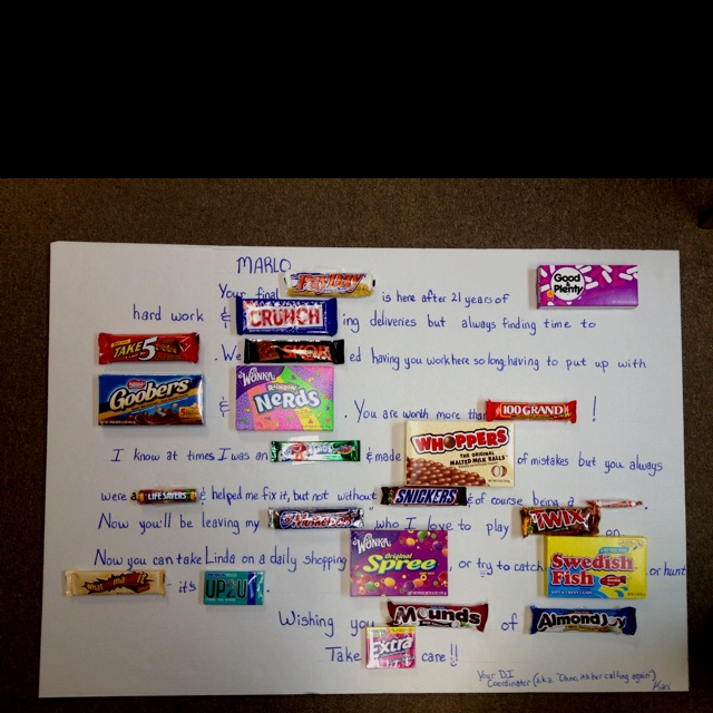 Candy card made for retiring co-worker | Retirement party ...