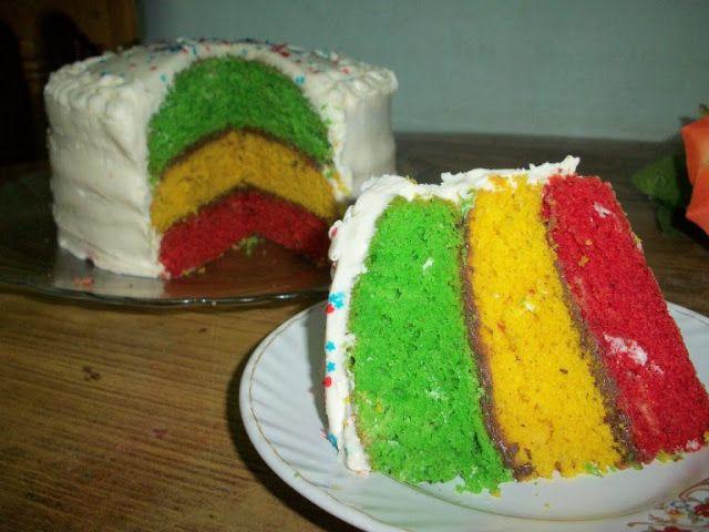 YUMMY TUMMY: Tri-Colour Rainbow Cake for 300th Post