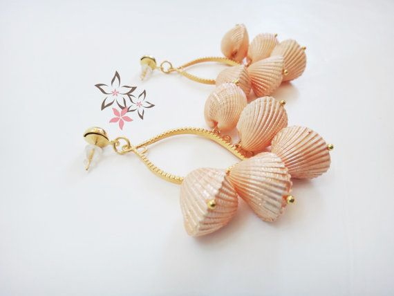 Peach Paradise Shell Boho Gold Plated Brass Earrings / by Twininas