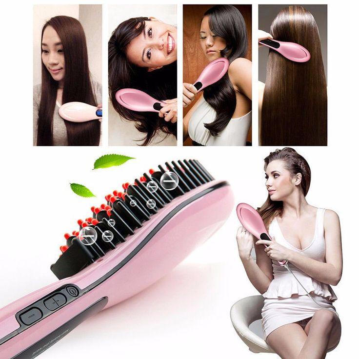 Fast Hair Straightener Electric Straightening Comb Brush Hair Comb Irons LCD Display Straightening Styling Tool escova alisadora