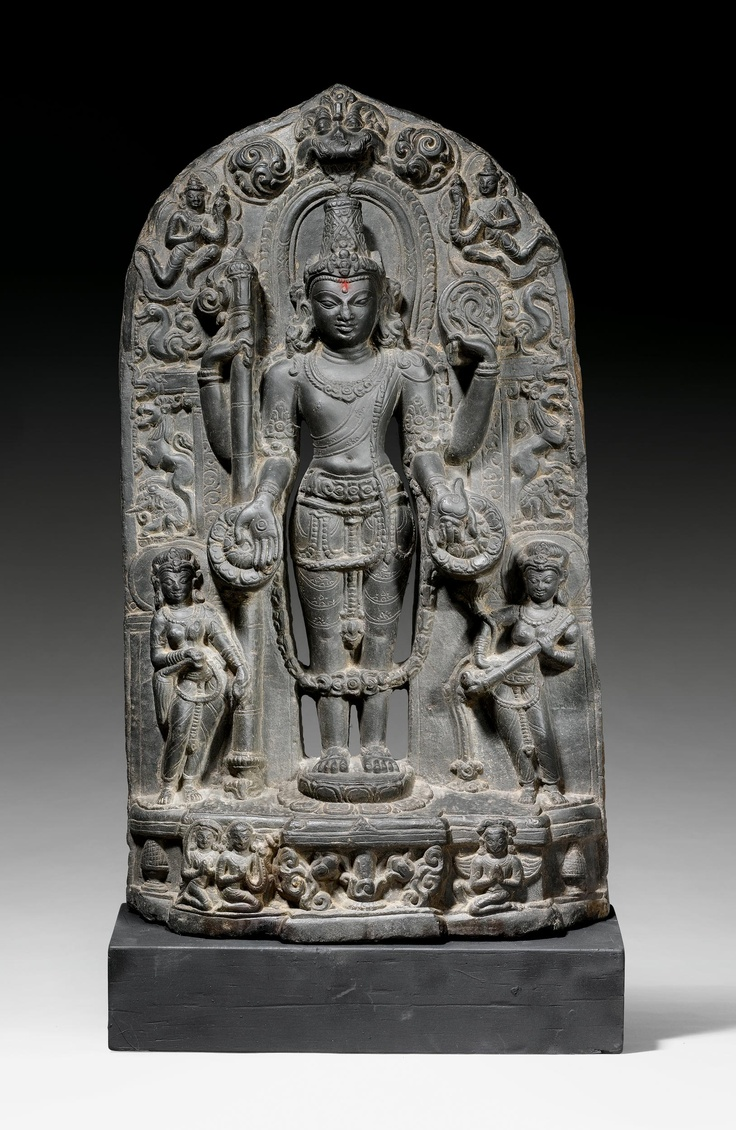 STONE STELE OF VISHNU,        India, Pala period, ca. 12th century.