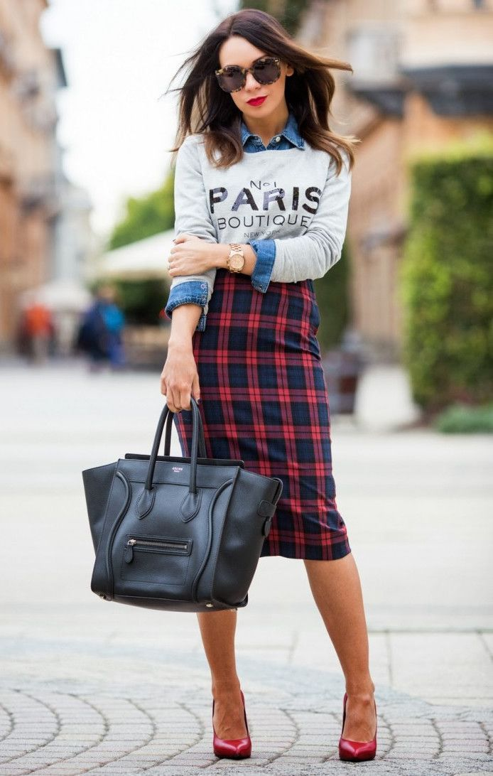 Tartan Skirt + Grey Sweatshirt