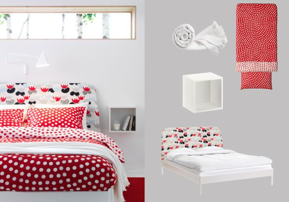 DUKEN bed with Idse mulitcoloured headboard cover and STENKLÖVER white/red quilt cover and pillowcases