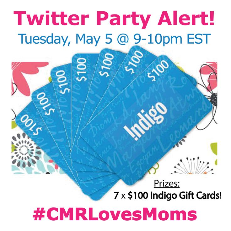 TWITTER PARTY ALERT!  @thecmr is giving away $700 in Indigo gift cards at the #CMRLovesMoms Twitter Party on May 5th from 9-10pm EST!  Canadians (ex QC & NU) must RSVP to be eligible to win: http://www.fabfrugalmama.com/2015/04/twitter-party-alert-cmrlovesmoms.html