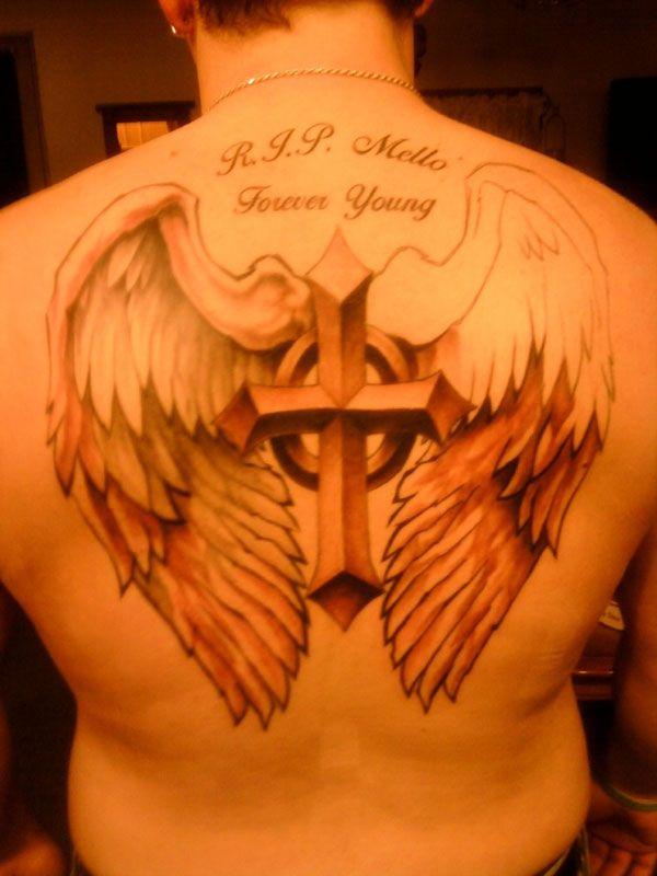 tattoo wing cross 25 Plead Cross Tattoos For Men