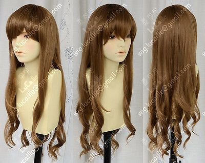 Fashion Gentle Long Brown Wavy Curly Hair Wig 100% Real Hair! New Cos Wig