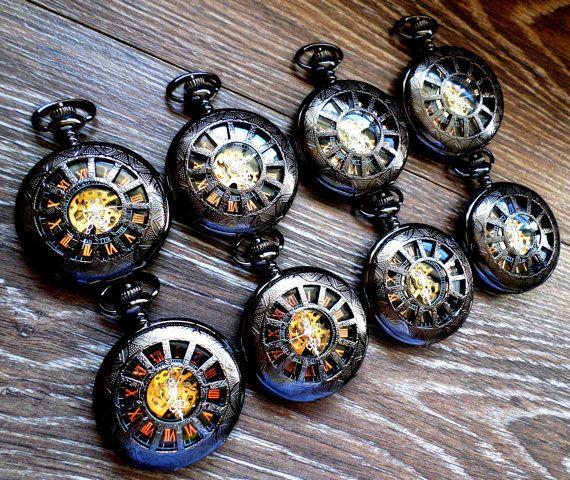 Groomsmen Pocket Watch Set of 9 Black Personalized Pocket